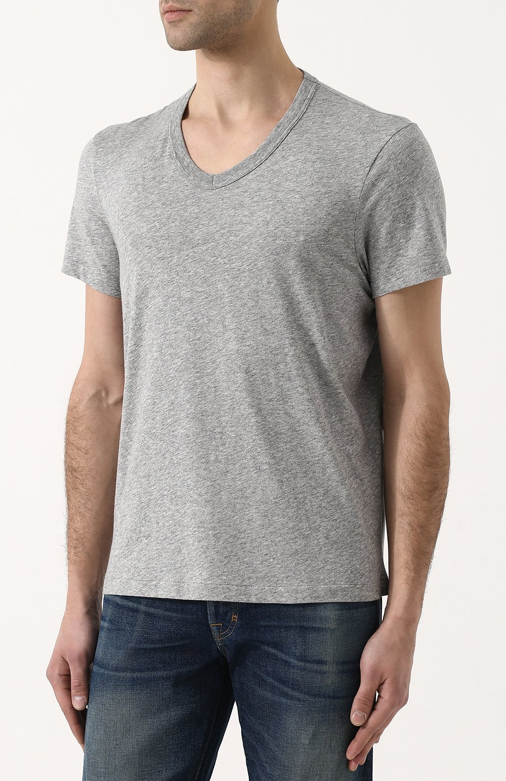 Мужская хлопковая футболка TOM FORD серого цвета, арт. BP402/TFJ894   Фото 3
