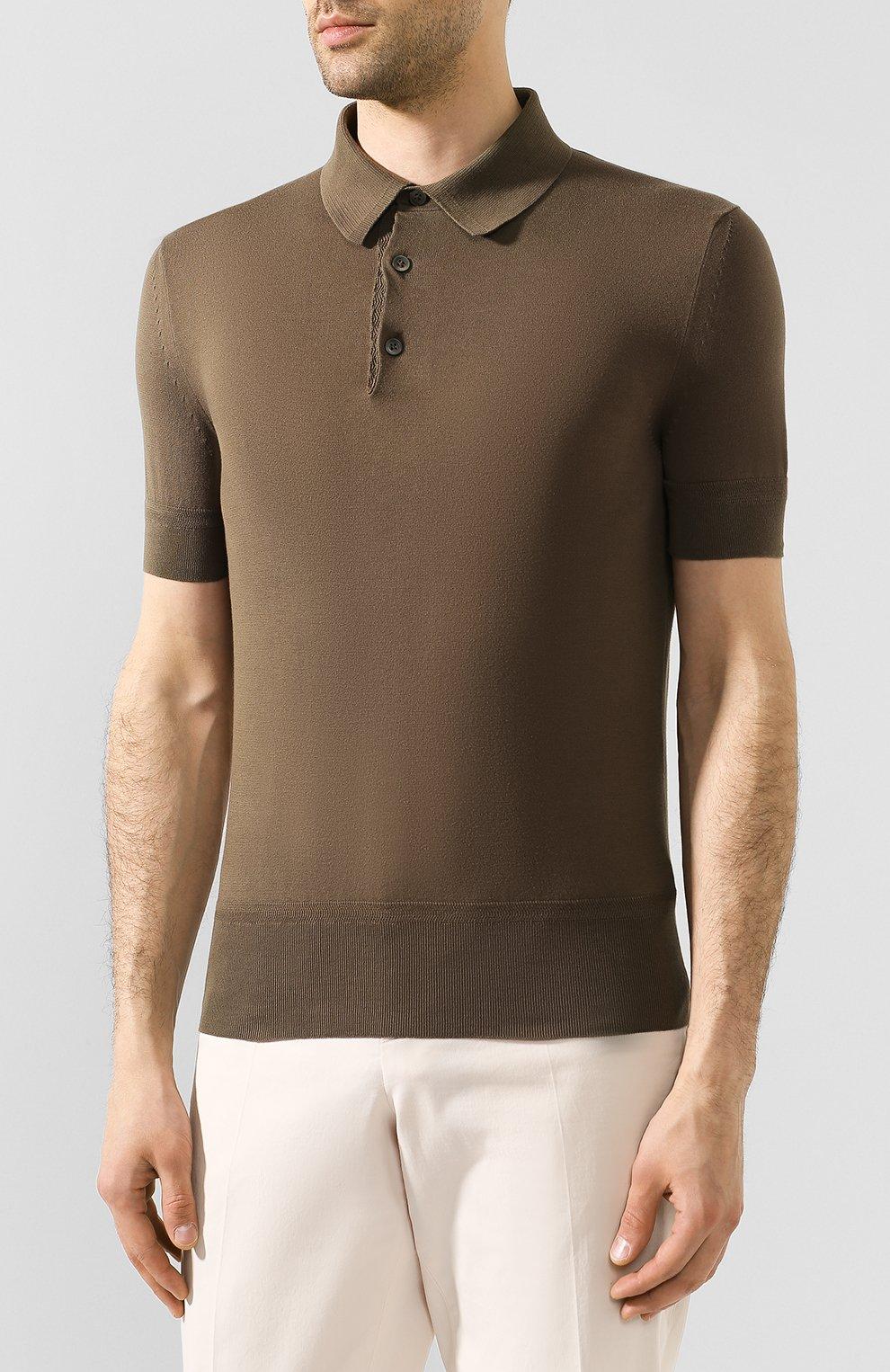 Мужское хлопковое поло с короткими рукавами  TOM FORD оливкового цвета, арт. BPC00/TFKC33 | Фото 3