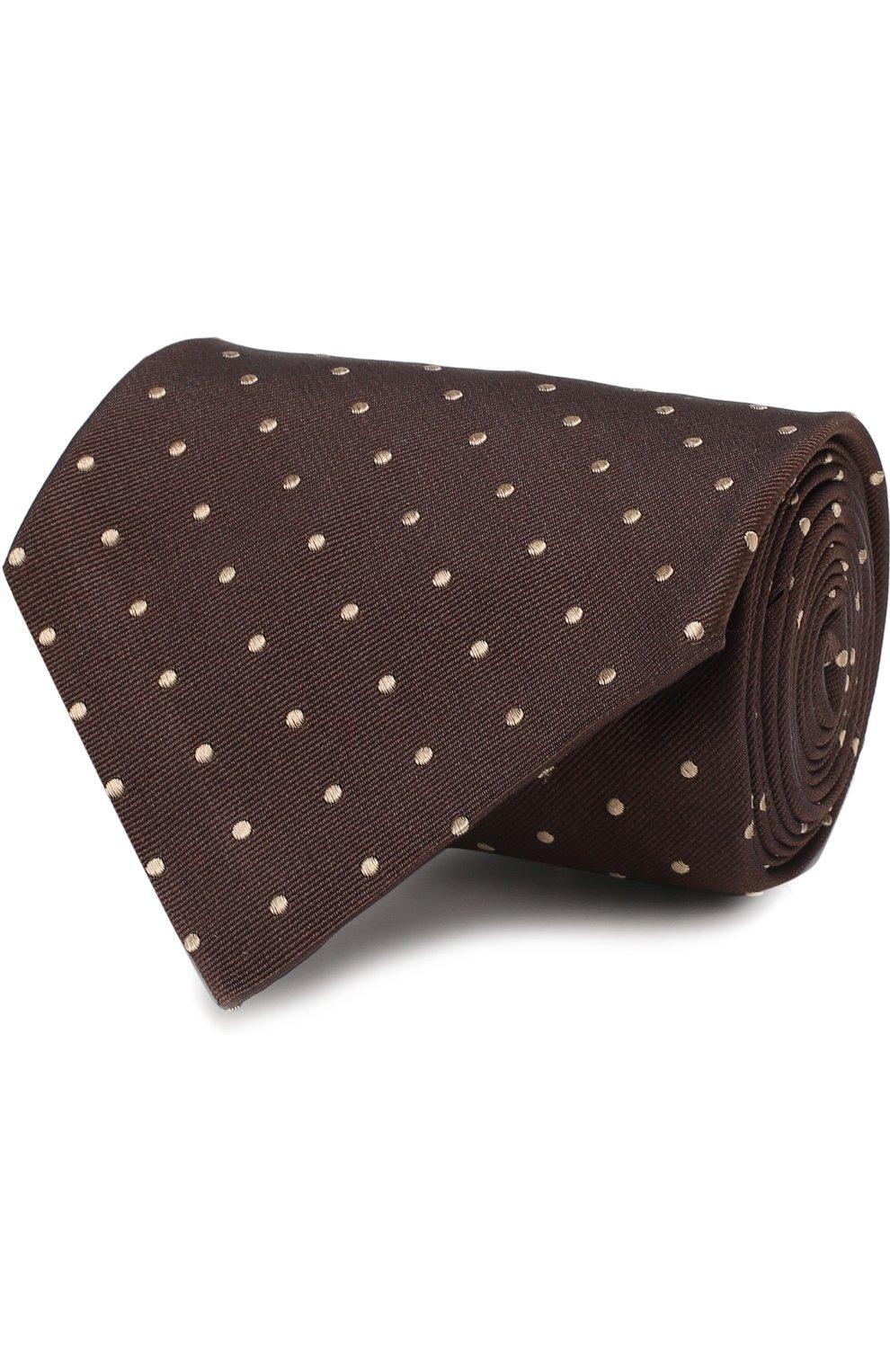Мужской шелковый галстук TOM FORD темно-коричневого цвета, арт. 3TF43/XTF | Фото 1