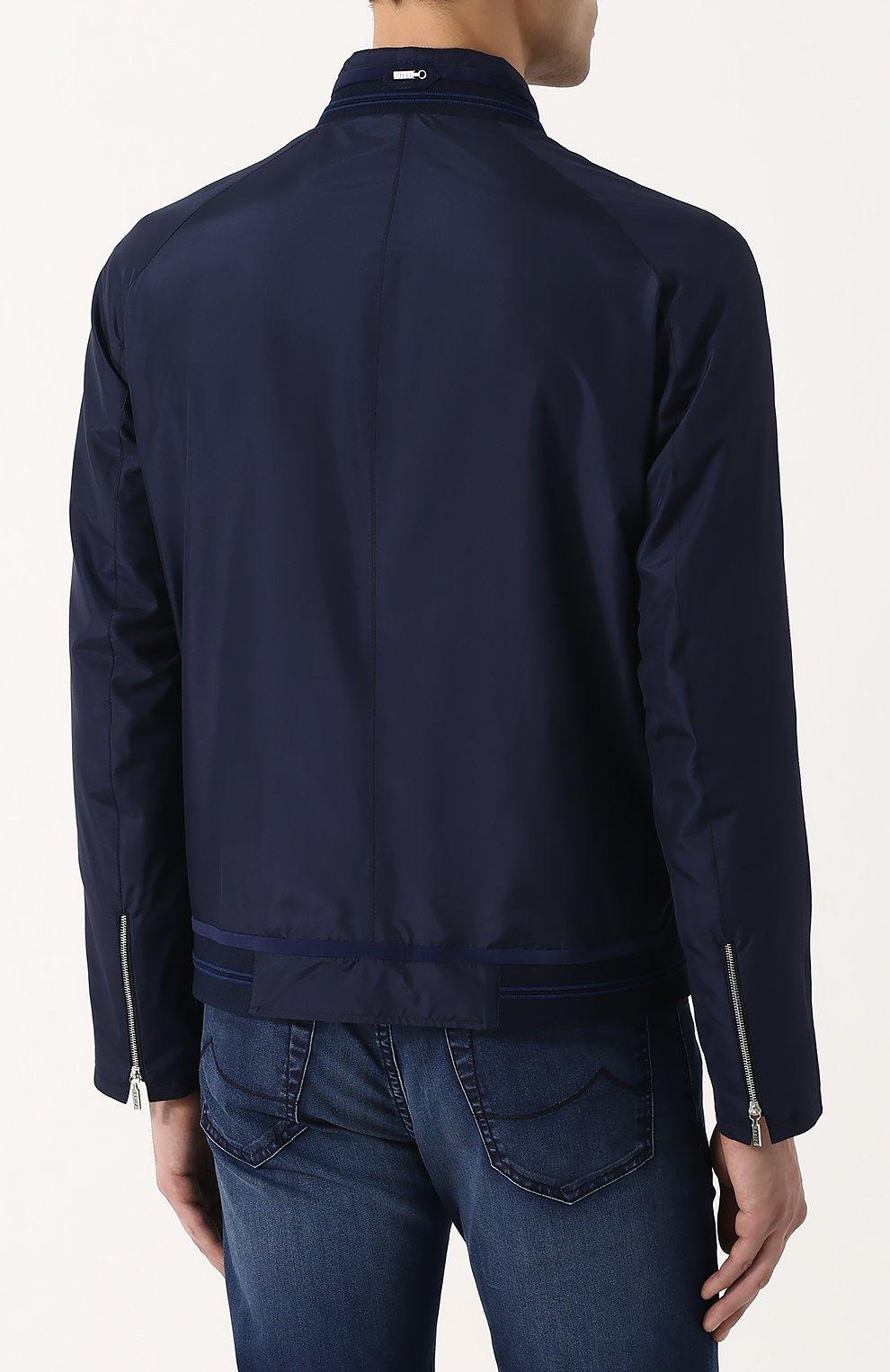 Мужской шелковый бомбер на молнии ZILLI темно-синего цвета, арт. MAN-BASIL-30036/1003   Фото 4