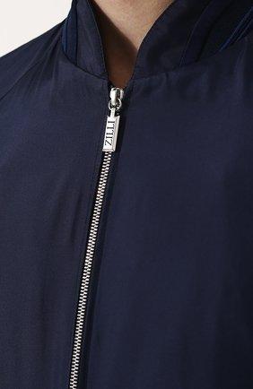 Мужской шелковый бомбер на молнии ZILLI темно-синего цвета, арт. MAN-BASIL-30036/1003   Фото 5