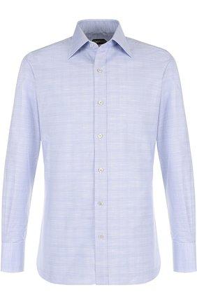 Мужская хлопковая сорочка с воротником кент TOM FORD голубого цвета, арт. 3FT077/94S1JE | Фото 1