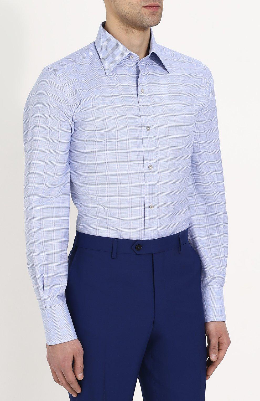 Мужская хлопковая сорочка с воротником кент TOM FORD голубого цвета, арт. 3FT077/94S1JE | Фото 3