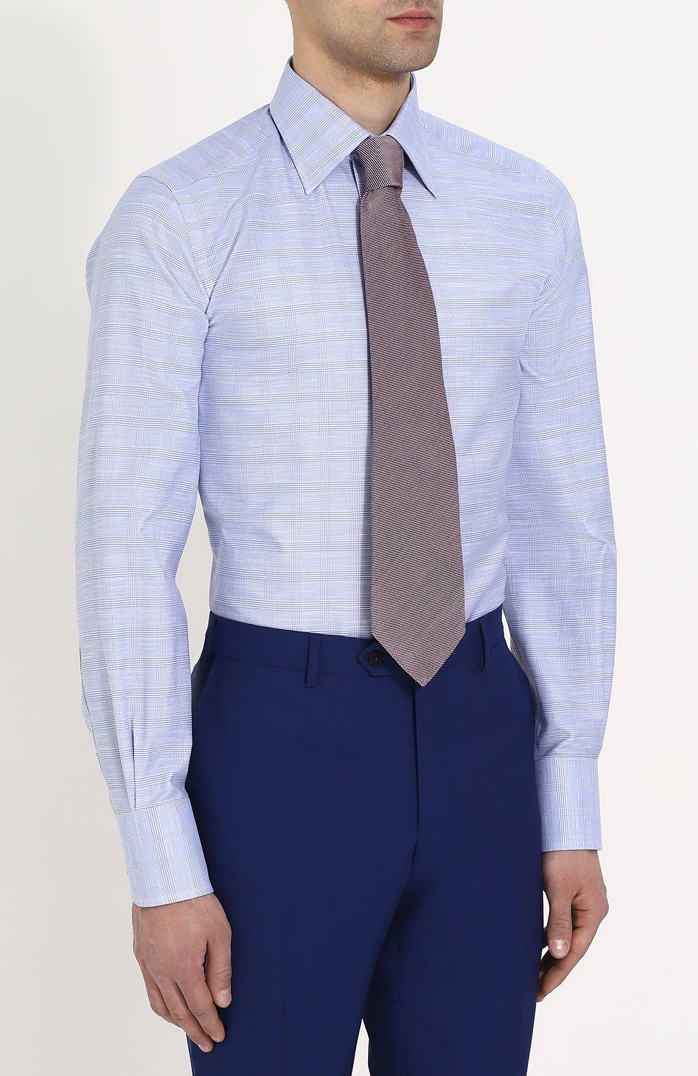 Мужская хлопковая сорочка с воротником кент TOM FORD голубого цвета, арт. 3FT077/94S1JE | Фото 4