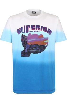 Хлопковая футболка с принтом Diesel синяя | Фото №1