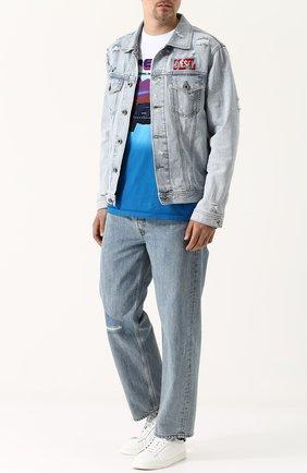 Хлопковая футболка с принтом Diesel синяя | Фото №2
