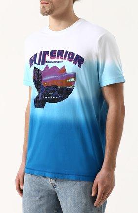 Хлопковая футболка с принтом Diesel синяя | Фото №3