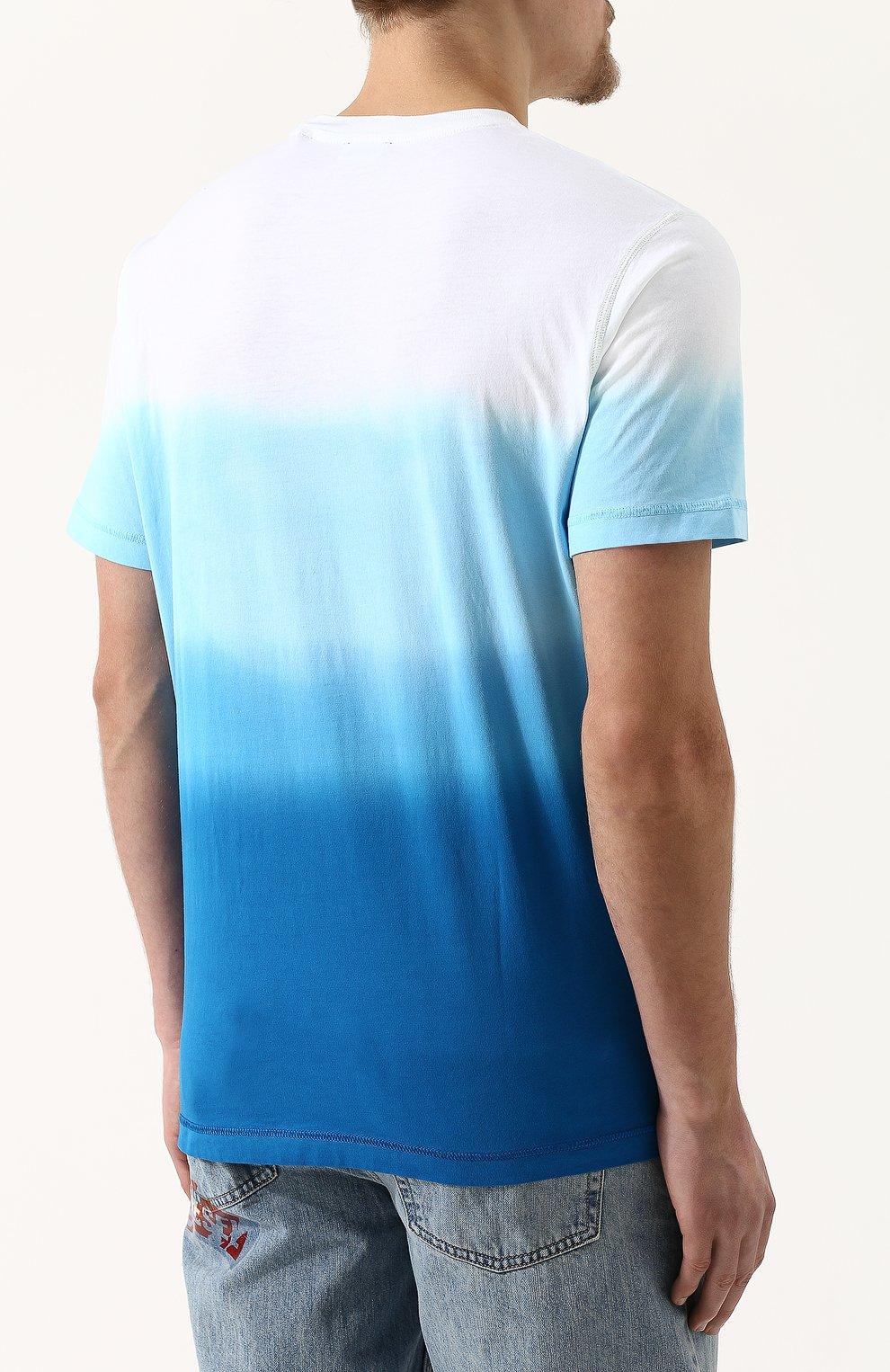 Хлопковая футболка с принтом Diesel синяя | Фото №4