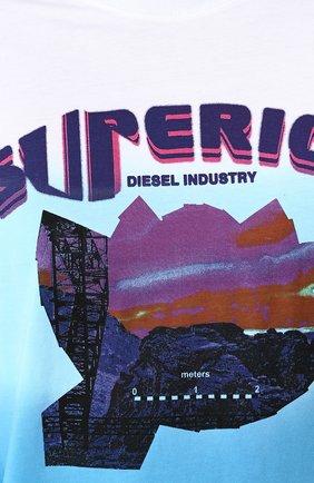Хлопковая футболка с принтом Diesel синяя | Фото №5