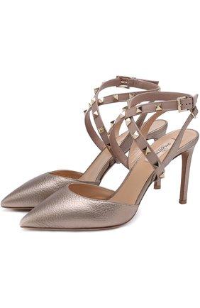 Туфли Valentino Garavani Studwrap из металлизированной кожи на шпильке | Фото №1