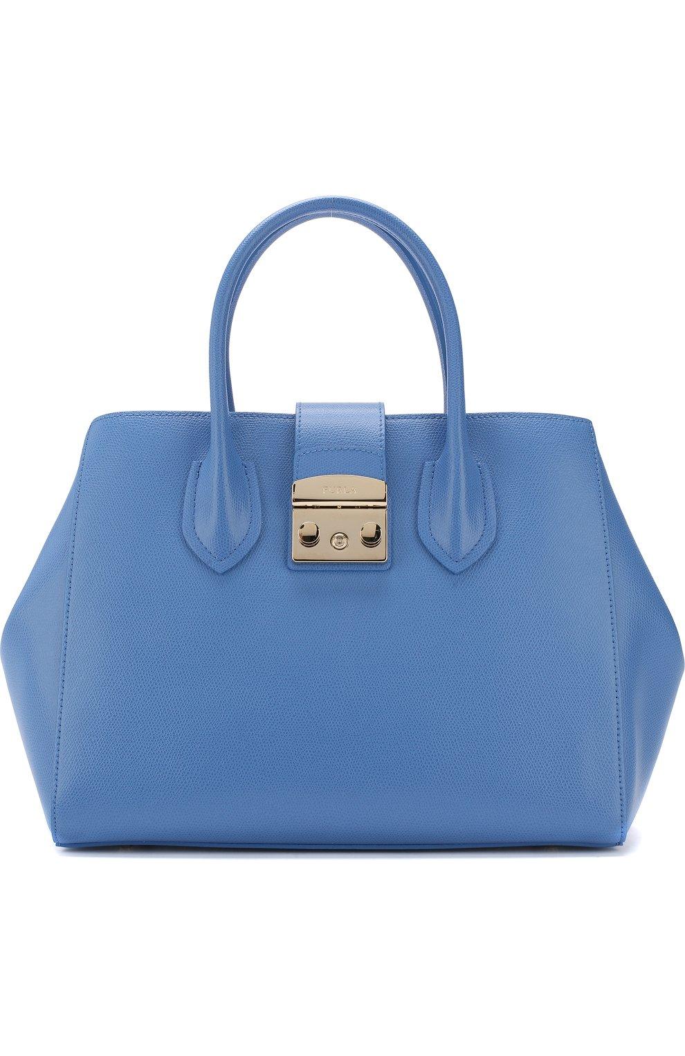 Женская сумка-тоут metropolis FURLA голубого цвета — купить за 27500 ... 4e3a365ce06