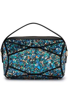 Кожаная сумка с отделкой Elie Saab разноцветного цвета | Фото №1