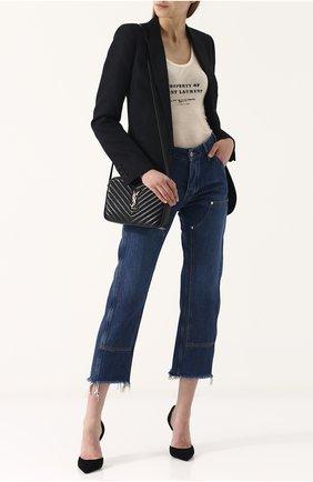 Женская сумка lou medium SAINT LAURENT черного цвета, арт. 520534/DV707   Фото 2
