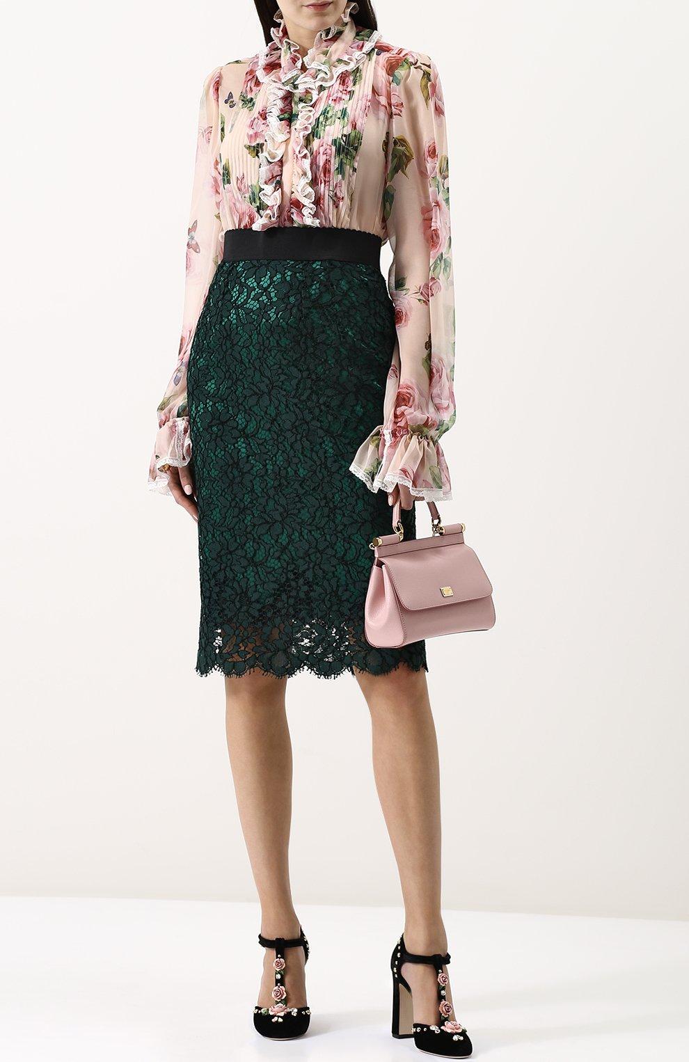 Кружевная юбка-миди с широким поясом | Фото №2