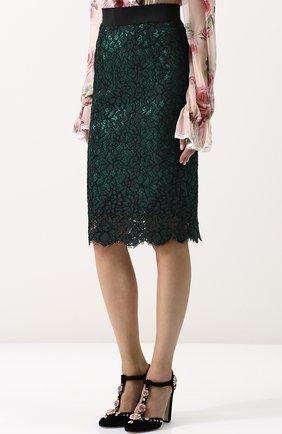 Кружевная юбка-миди с широким поясом | Фото №3
