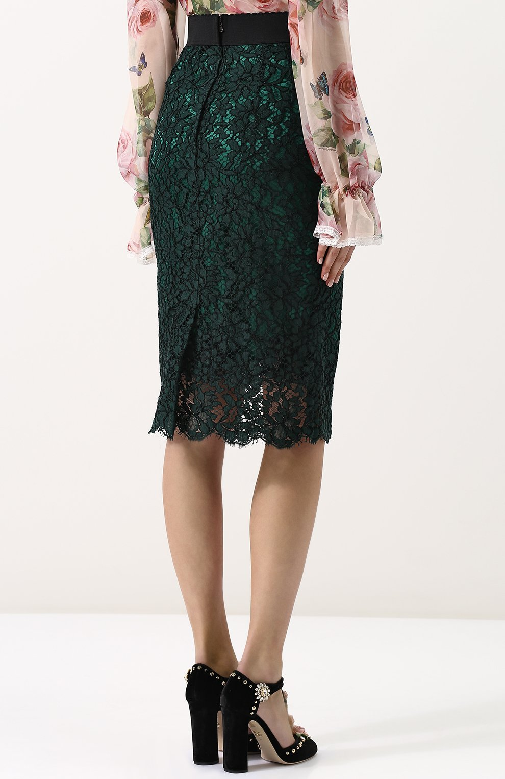Кружевная юбка-миди с широким поясом | Фото №4