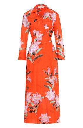 Платье-миди из смеси хлопка и шелка с запахом Diane Von Furstenberg коралловое   Фото №1
