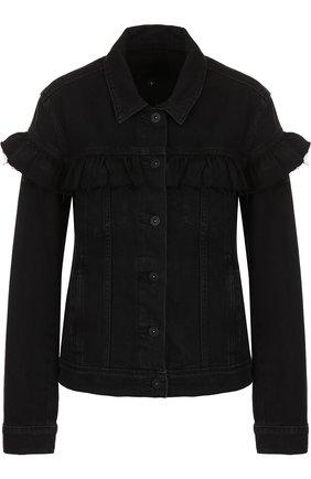 Джинсовая куртка с оборками и потертостями   Фото №1