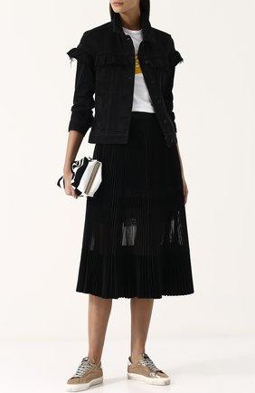 Джинсовая куртка с оборками и потертостями Paige черная   Фото №1