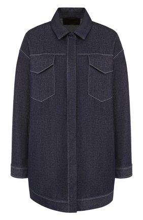 Джинсовая куртка свободного кроя с контрастной прострочкой | Фото №1