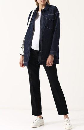 Джинсовая куртка свободного кроя с контрастной прострочкой | Фото №2