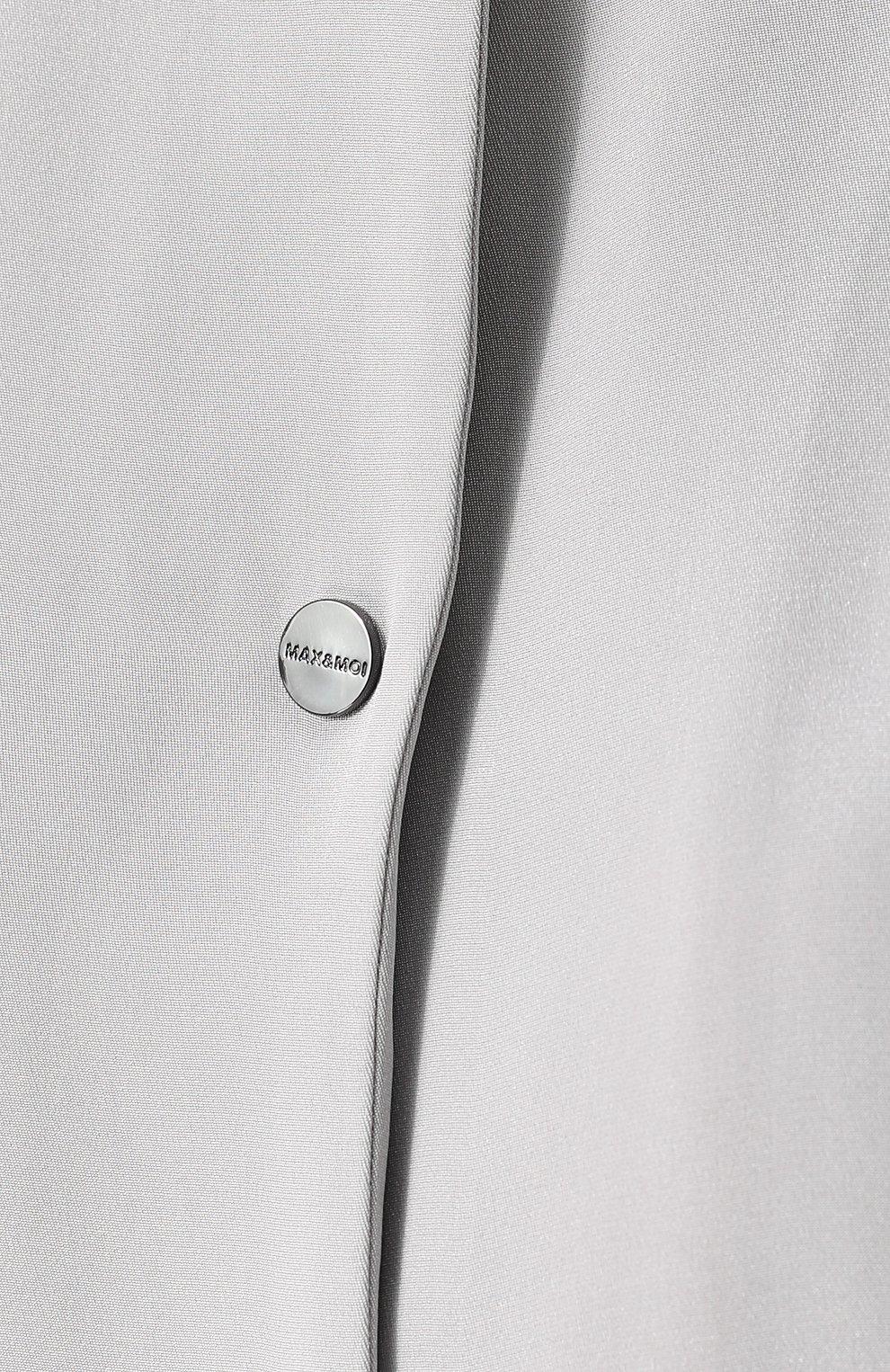 Женский однотонные шелковый бомбер с кожаной отделкой MAX&MOI серого цвета, арт. E18PLAZZA | Фото 5