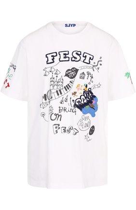 Хлопковая футболка с круглым вырезом и контрастной вышивкой | Фото №1