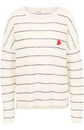 Льняной пуловер свободного кроя с круглым вырезом | Фото №1