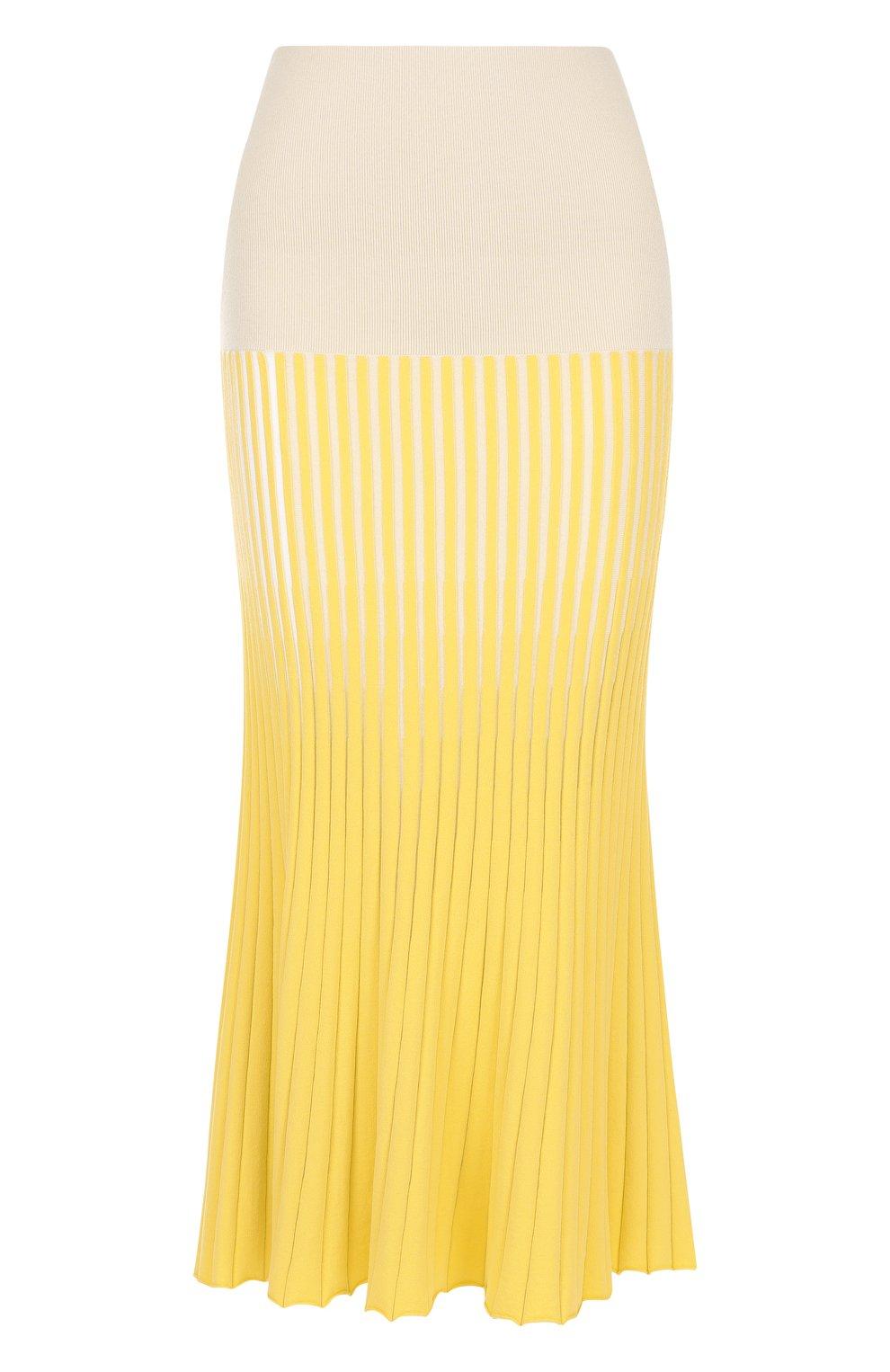 Женская юбка-миди фактурной вязки из смеси кашемира и хлопка TSE желтого цвета, арт. TWK231S18B | Фото 1