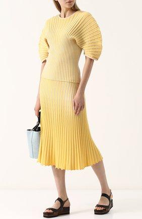 Женская юбка-миди фактурной вязки из смеси кашемира и хлопка TSE желтого цвета, арт. TWK231S18B | Фото 2