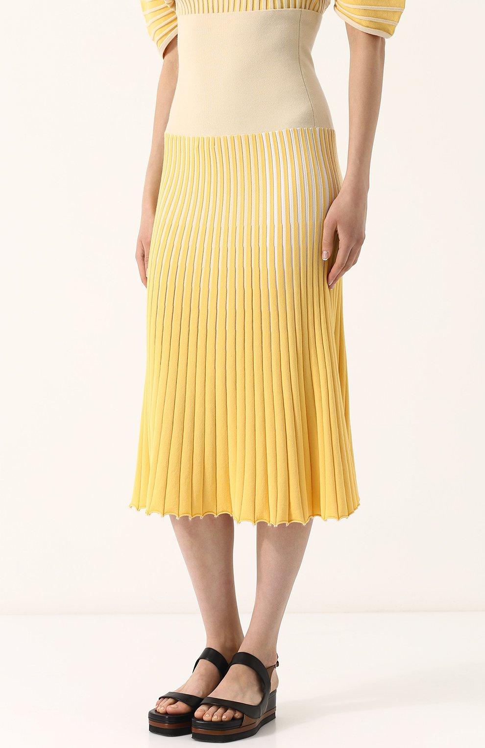 Женская юбка-миди фактурной вязки из смеси кашемира и хлопка TSE желтого цвета, арт. TWK231S18B | Фото 3