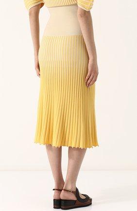 Женская юбка-миди фактурной вязки из смеси кашемира и хлопка TSE желтого цвета, арт. TWK231S18B | Фото 4