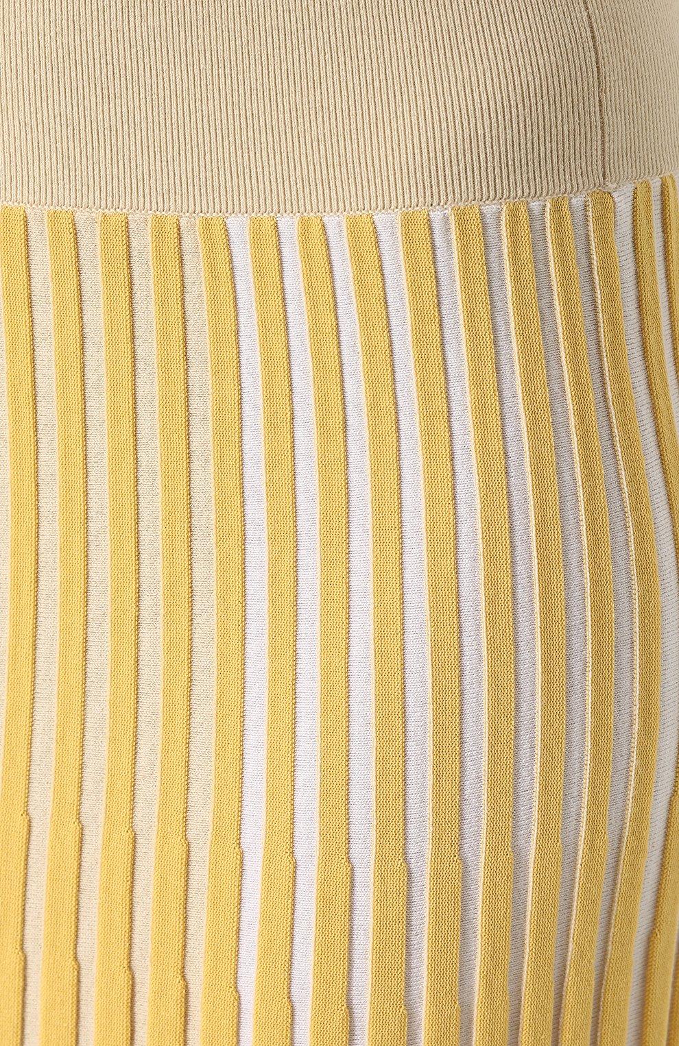 Женская юбка-миди фактурной вязки из смеси кашемира и хлопка TSE желтого цвета, арт. TWK231S18B | Фото 5