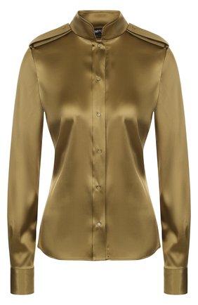 Женская шелковая блуза с погонами и воротником-стойкой TOM FORD хаки цвета, арт. CA3102-FAX334 | Фото 1