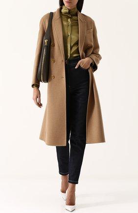 Женская шелковая блуза с погонами и воротником-стойкой TOM FORD хаки цвета, арт. CA3102-FAX334 | Фото 2