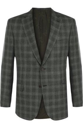 Мужской однобортный пиджак из смеси шерсти и шелка со льном BRIONI зеленого цвета, арт. RG0J0L/P7AR8/BRUNIC0/2 | Фото 1
