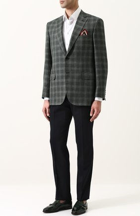 Мужской однобортный пиджак из смеси шерсти и шелка со льном BRIONI зеленого цвета, арт. RG0J0L/P7AR8/BRUNIC0/2 | Фото 2