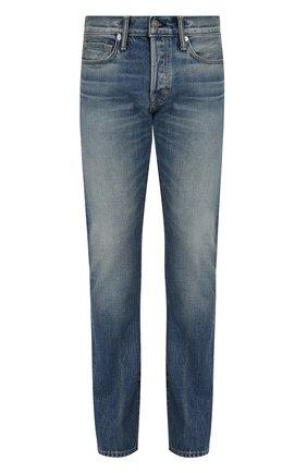 Мужские джинсы прямого кроя с потертостями TOM FORD синего цвета, арт. BPJ11/TFD002 | Фото 1
