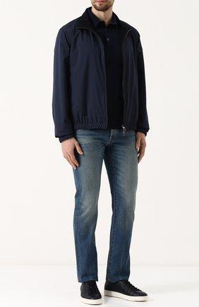 Мужские джинсы прямого кроя с потертостями TOM FORD синего цвета, арт. BPJ11/TFD002 | Фото 2