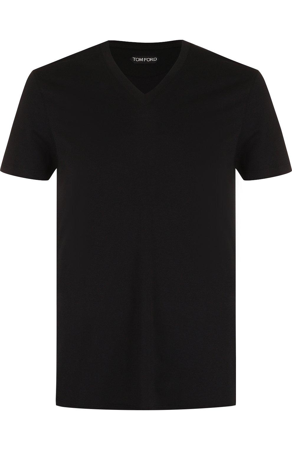 Мужская однотонная футболка с v-образным вырезом TOM FORD черного цвета, арт. BP229/TFJ915 | Фото 1
