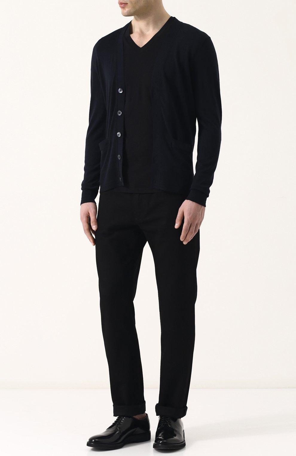 Мужская однотонная футболка с v-образным вырезом TOM FORD черного цвета, арт. BP229/TFJ915 | Фото 2