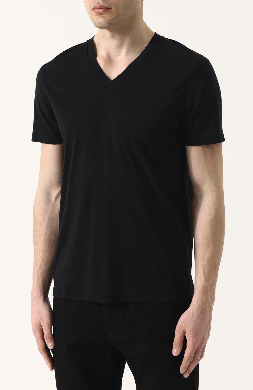 Мужская однотонная футболка с v-образным вырезом TOM FORD черного цвета, арт. BP229/TFJ915 | Фото 3