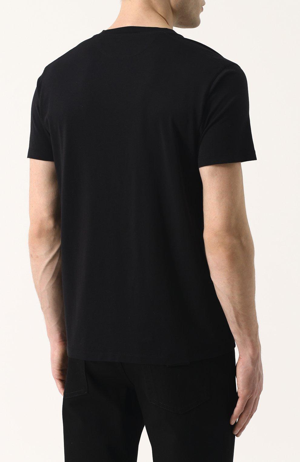 Мужская однотонная футболка с v-образным вырезом TOM FORD черного цвета, арт. BP229/TFJ915 | Фото 4