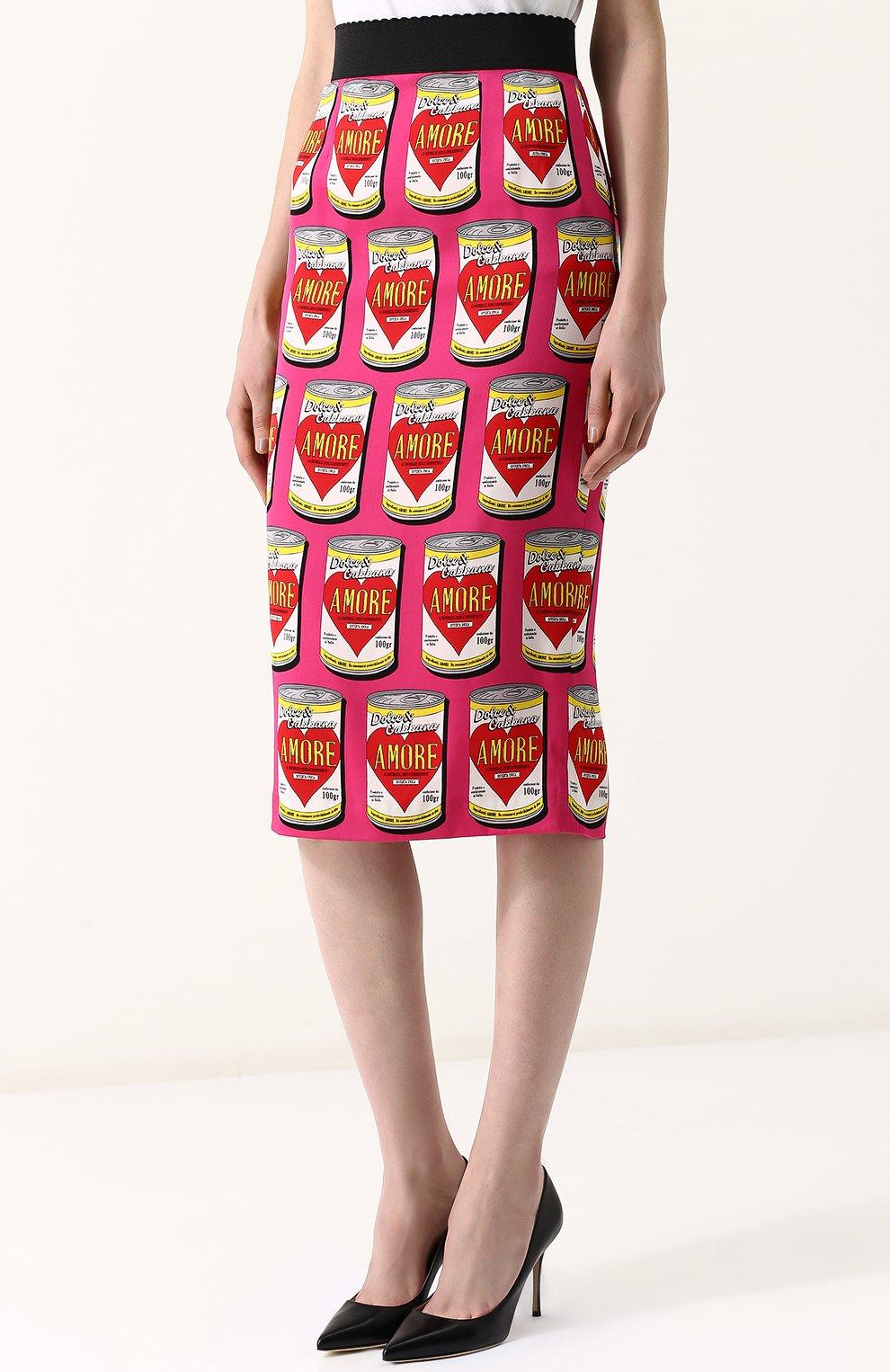03a1b965fb6 Женская розовая шелковая юбка-карандаш с принтом DOLCE   GABBANA ...