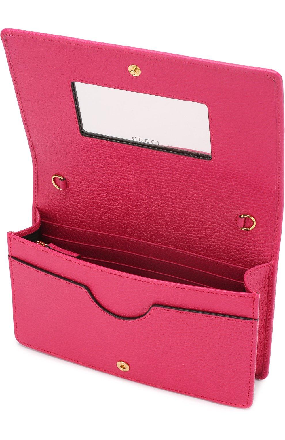 Женская сумка gg marmont mini GUCCI фуксия цвета, арт. 497985/CA00G | Фото 4