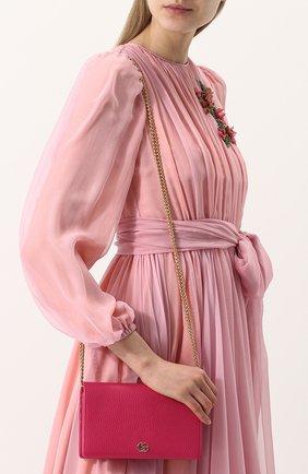 Женская сумка gg marmont mini GUCCI фуксия цвета, арт. 497985/CA00G | Фото 5