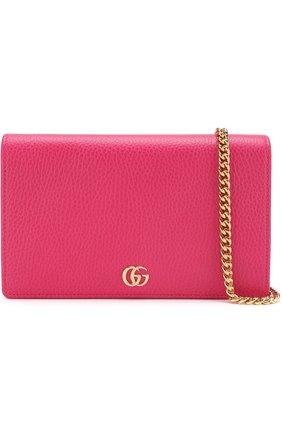 Женская сумка gg marmont mini GUCCI фуксия цвета, арт. 497985/CA00G | Фото 6