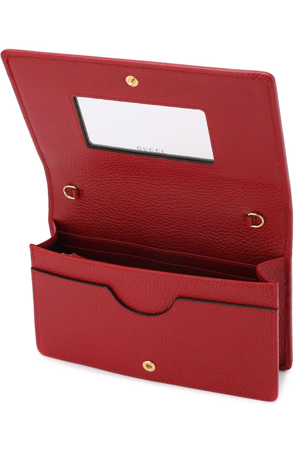 Женская сумка gg marmont mini GUCCI красного цвета, арт. 497985/CA00G | Фото 4