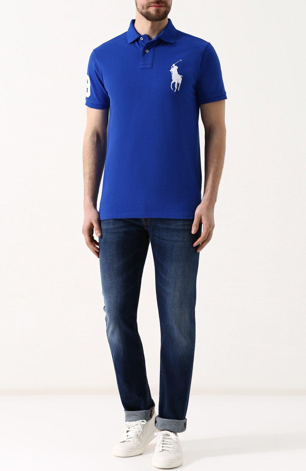 Мужское хлопковое поло POLO RALPH LAUREN синего цвета, арт. 710692227 | Фото 2