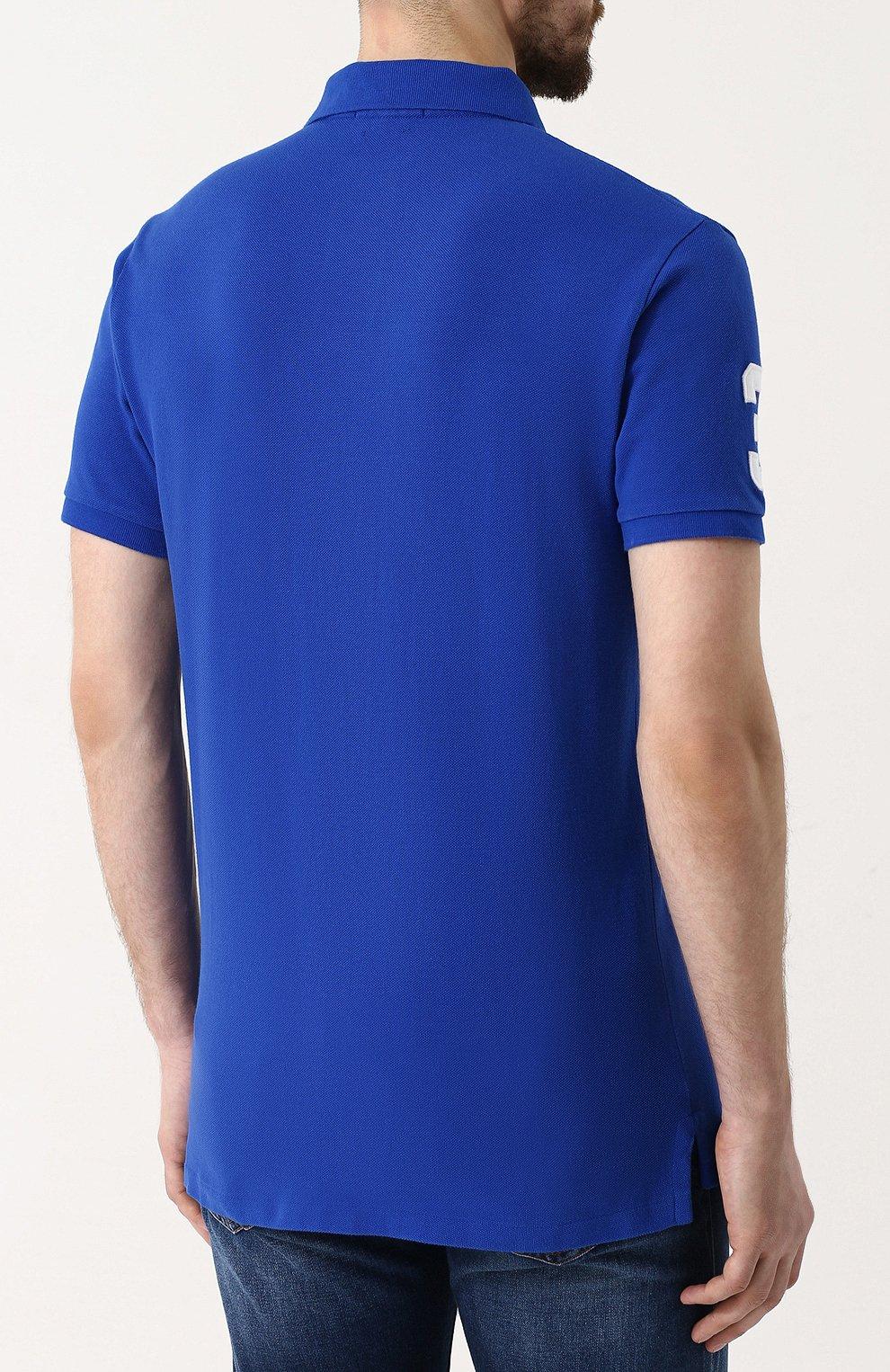 Мужское хлопковое поло POLO RALPH LAUREN синего цвета, арт. 710692227 | Фото 4